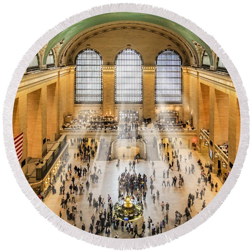 New York City Round Beach Towel featuring the photograph Grand Central Terminal Birds Eye View I by Susan Candelario