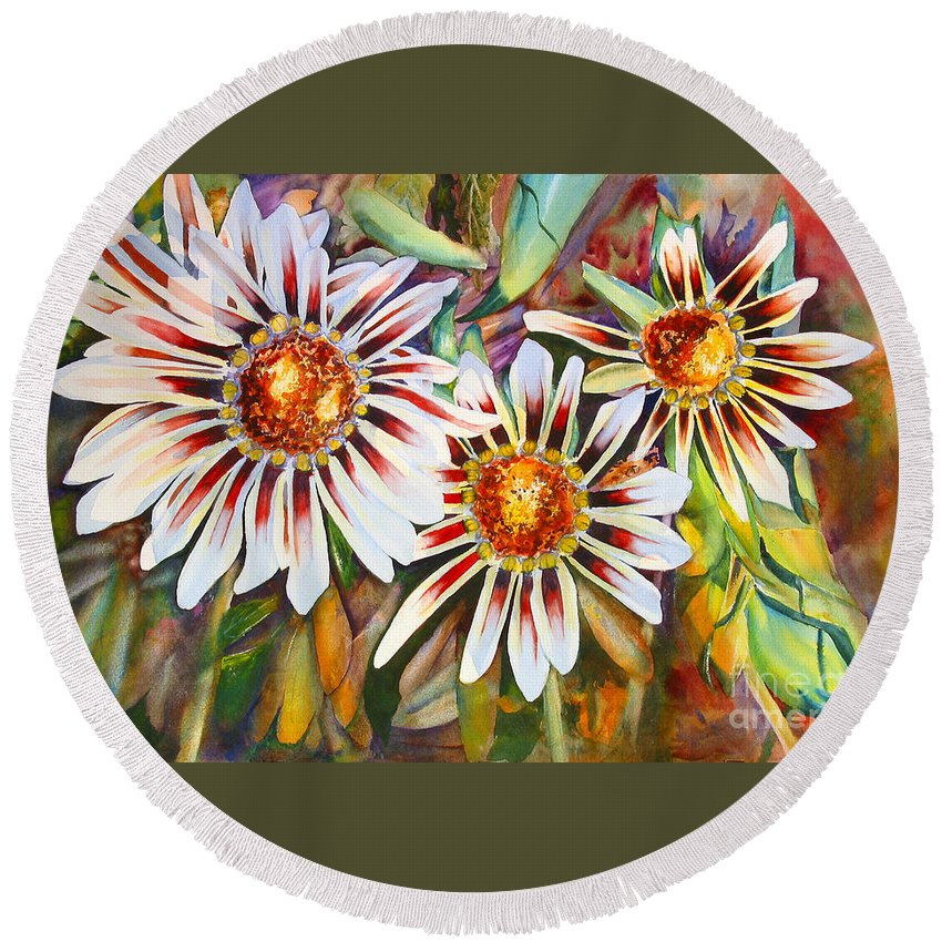 Background Round Beach Towel featuring the painting Grand Gazanias by Mohamed Hirji