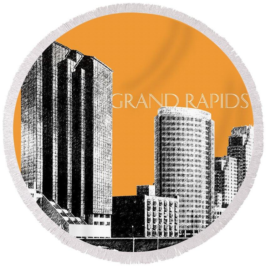 Architecture Round Beach Towel featuring the digital art Grand Rapids Skyline - Orange by DB Artist