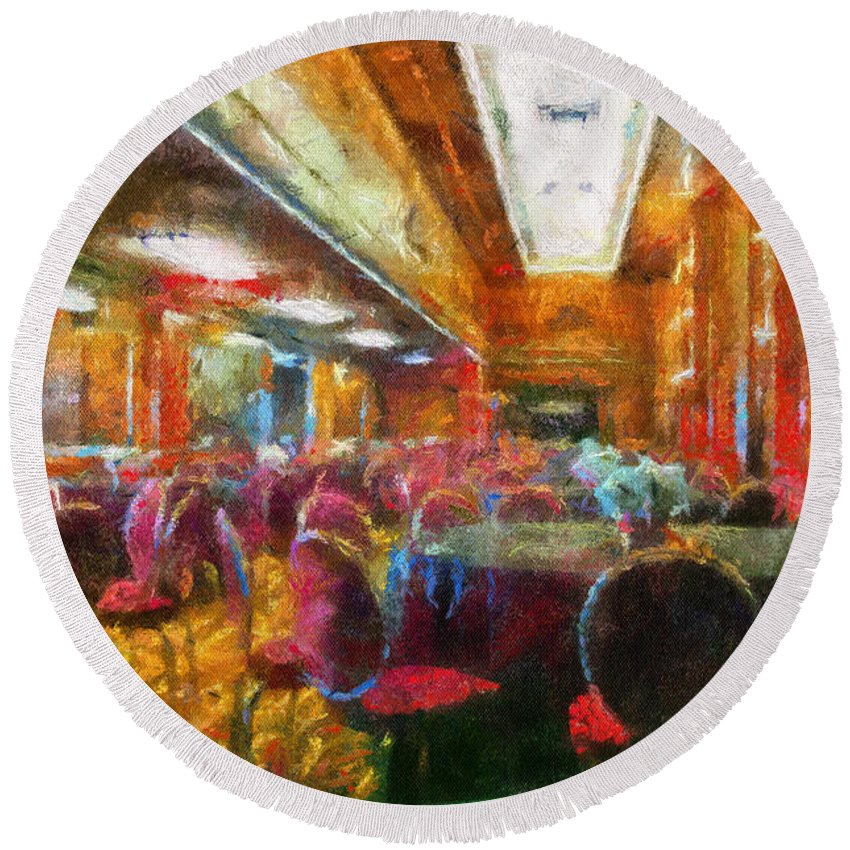 Queen Mary Round Beach Towel featuring the photograph Grand Salon 05 Queen Mary Ocean Liner Photo Art 02 by Thomas Woolworth