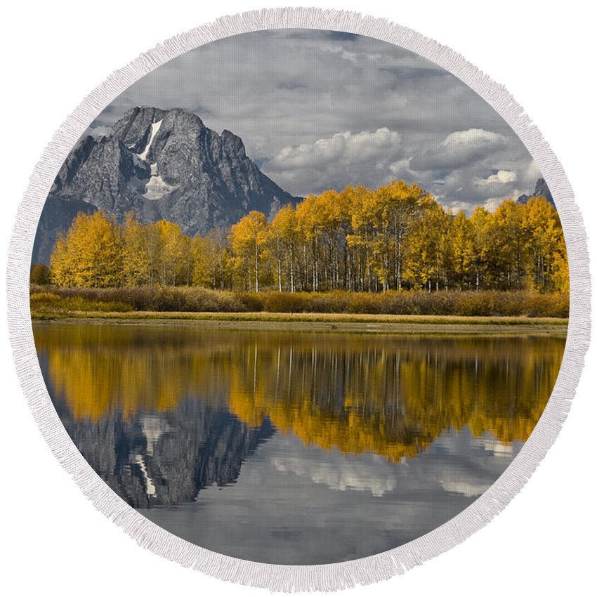 Grand Teton Gold Round Beach Towel featuring the photograph Grand Teton Gold by Wes and Dotty Weber