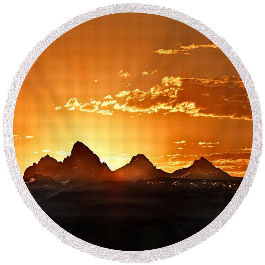 Altitude Round Beach Towel featuring the photograph Grand Teton Sunrise by Leland D Howard