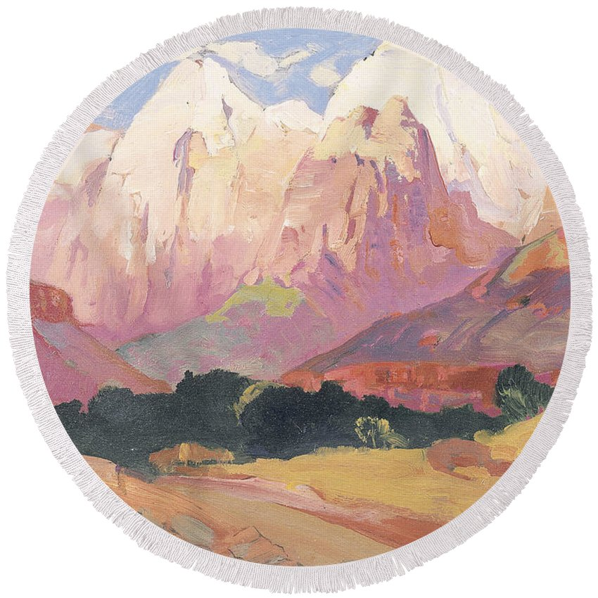 Landscape Round Beach Towel featuring the painting Grand Tetons by Franz A Bischoff