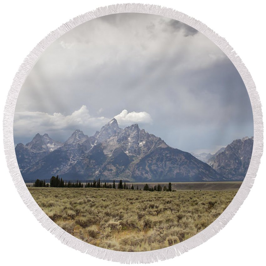 Grand Teton National Park Round Beach Towel featuring the photograph Grand Thunder - Grand Teton National Park - Wyoming by Diane Mintle