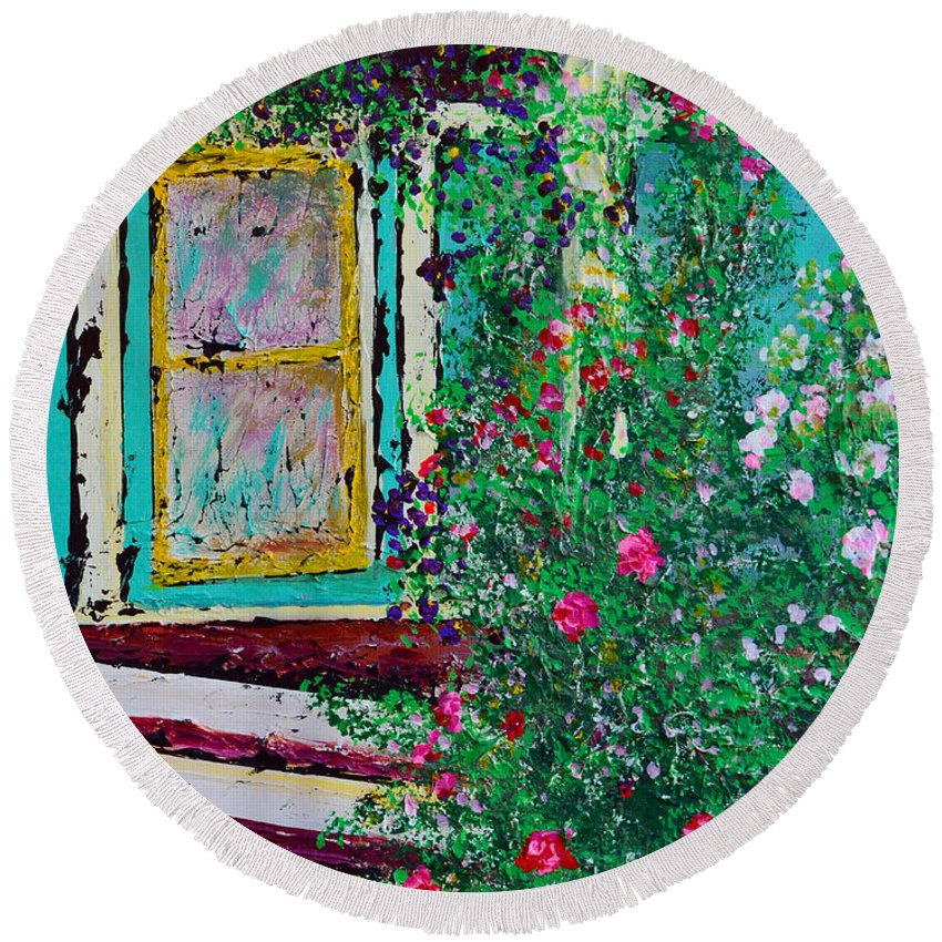 Porch Round Beach Towel featuring the painting Grandma's Porch by Alys Caviness-Gober
