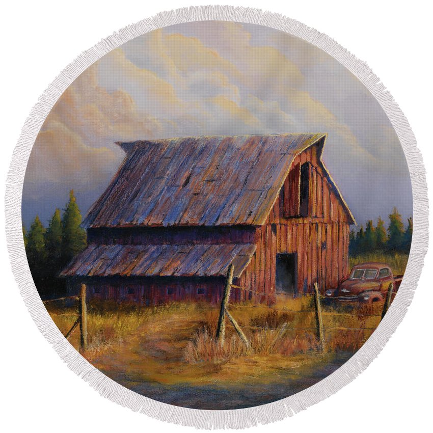 Barn Round Beach Towel featuring the painting Grandpas Truck by Jerry McElroy