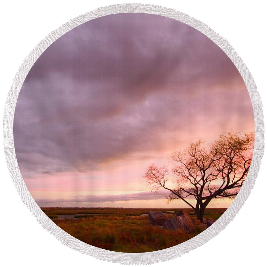 Galveston Round Beach Towel featuring the photograph Storm At Dusk 2am-108346 by Andrew McInnes