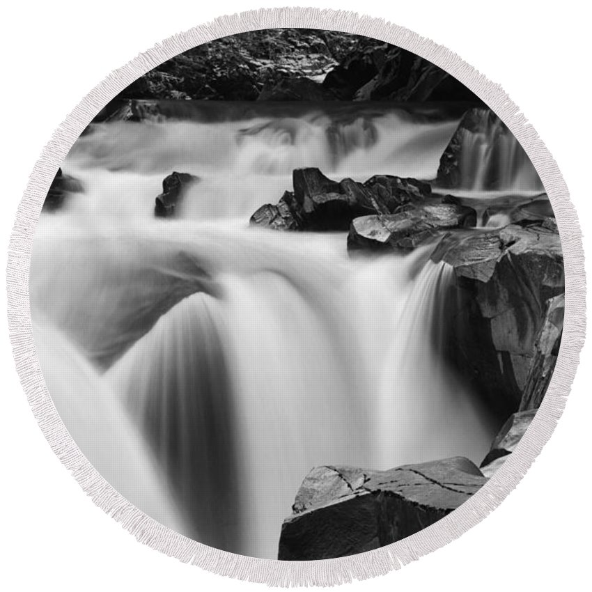 Granite Falls Round Beach Towel featuring the photograph Granite Falls Black And White by Mark Kiver