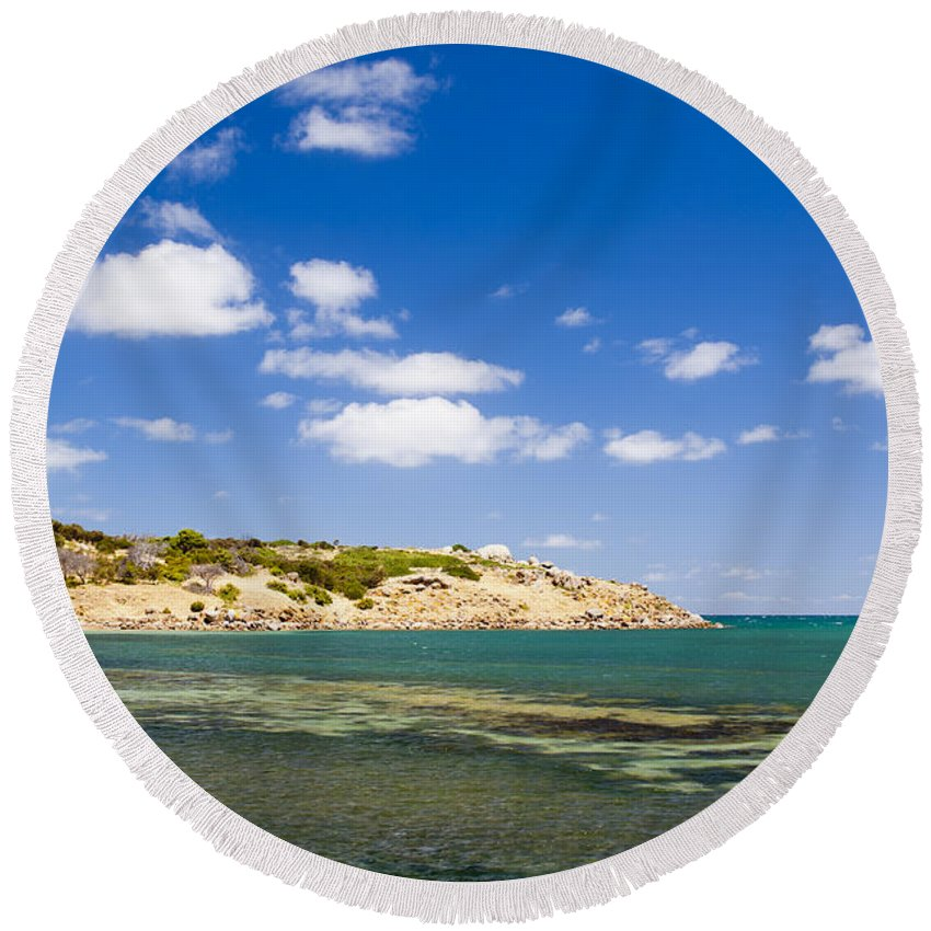 South Australia Round Beach Towel featuring the photograph Granite Island South Australia by Tim Hester