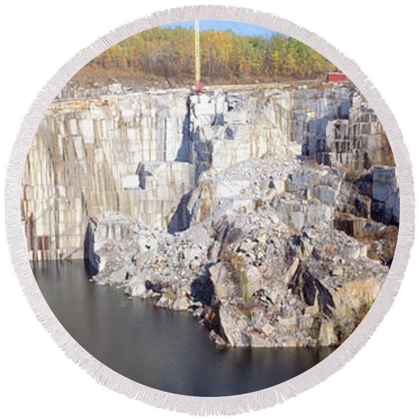 Photography Round Beach Towel featuring the photograph Granite Quarry, Barre, Vermont by Panoramic Images