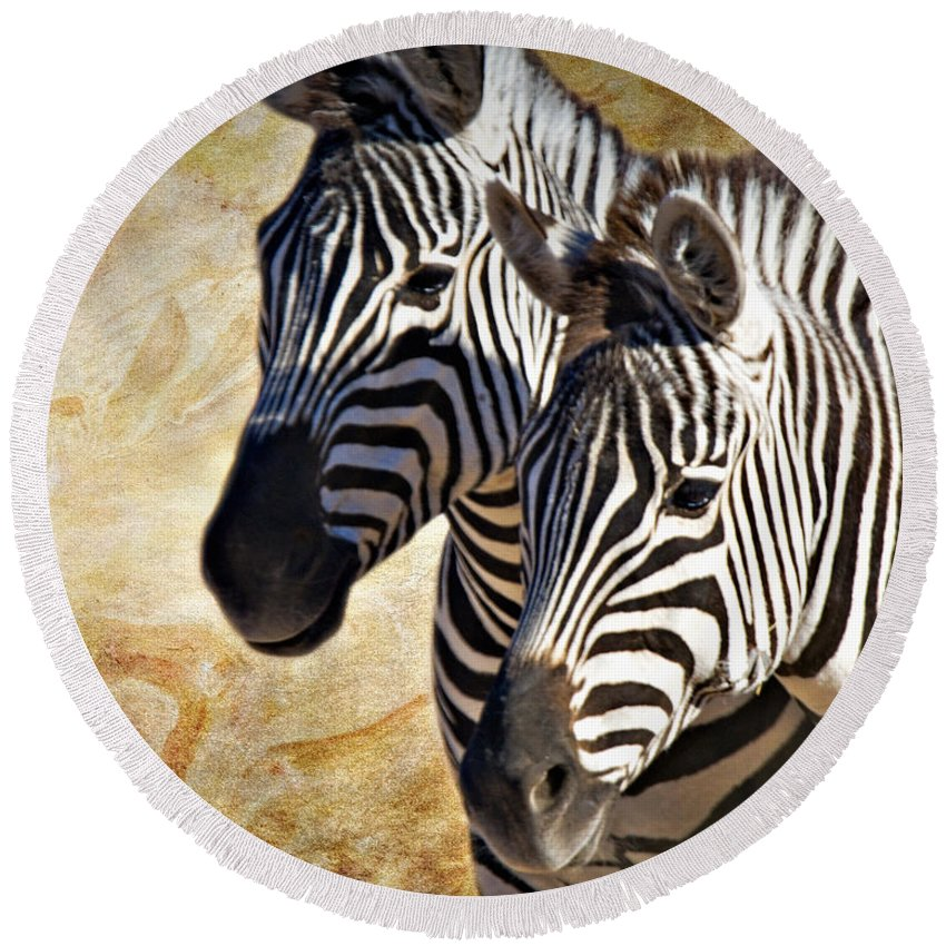 Grant's Zebra Round Beach Towel featuring the photograph Grant's Zebras_b1 by Walter Herrit
