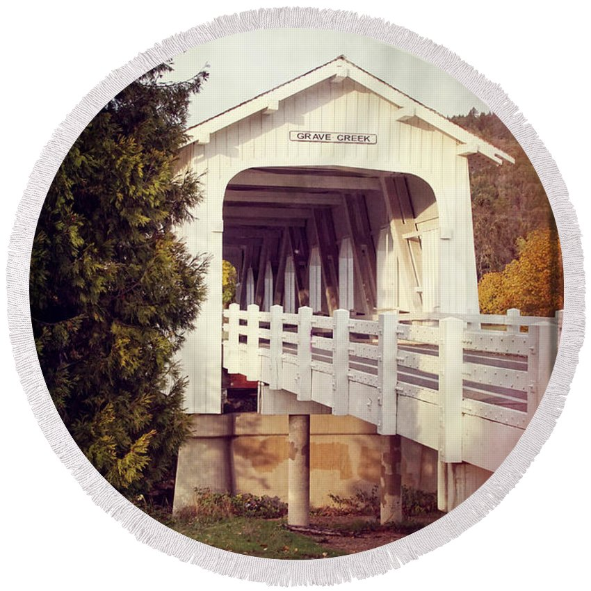 Grave Creek Covered Bridge Round Beach Towel featuring the photograph Grave Creek Covered Bridge by Mick Anderson