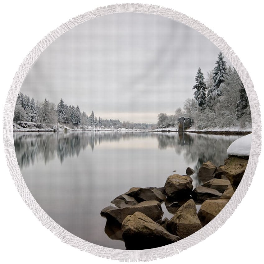 Lake Oswego Round Beach Towel featuring the photograph Gray Day In Lake Oswego by Ronda Kimbrow