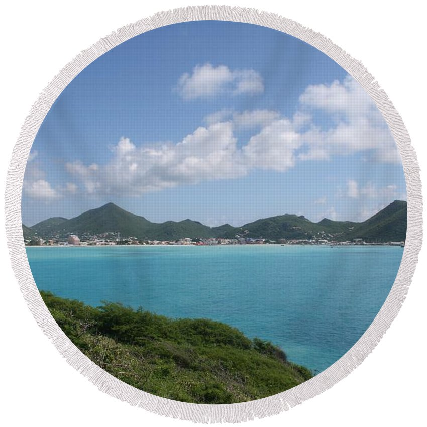 Philipsburg Round Beach Towel featuring the photograph Great Bay by John W Smith III