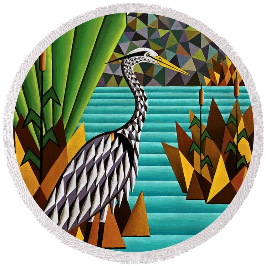 Animals Round Beach Towel featuring the painting Great Blue Heron by Bruce Bodden