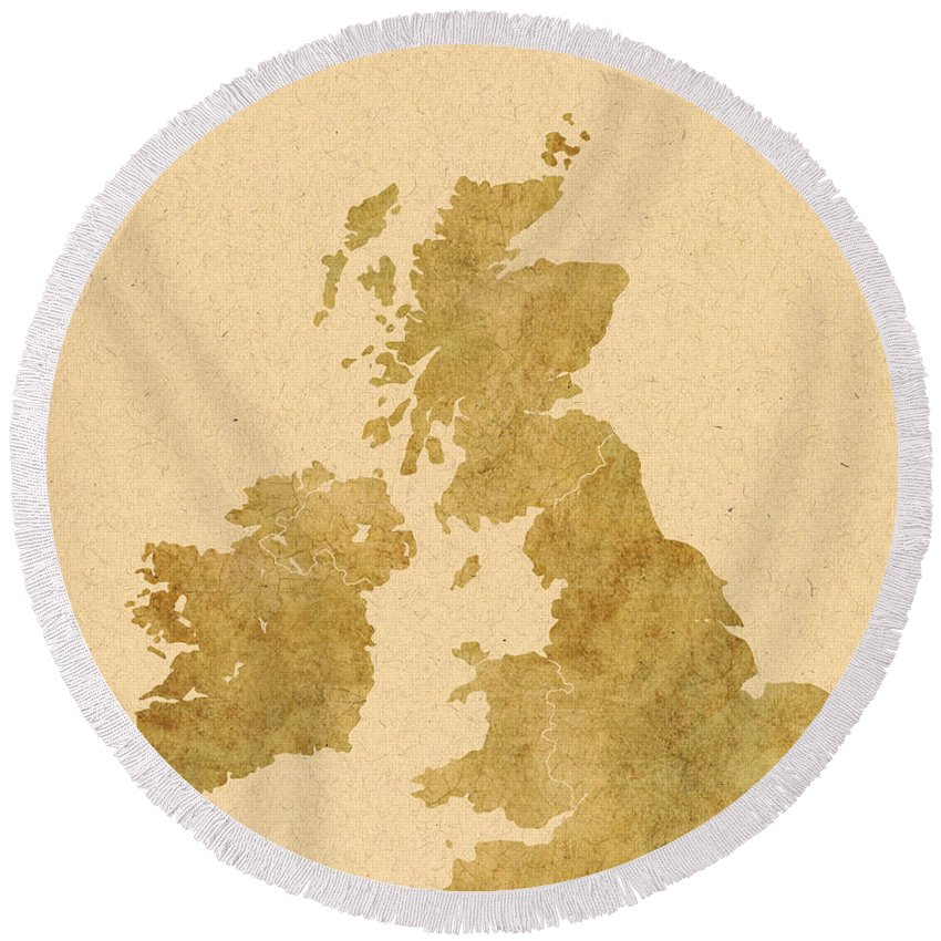 Map Art Round Beach Towel featuring the photograph Great Britain Map by Chris Smith