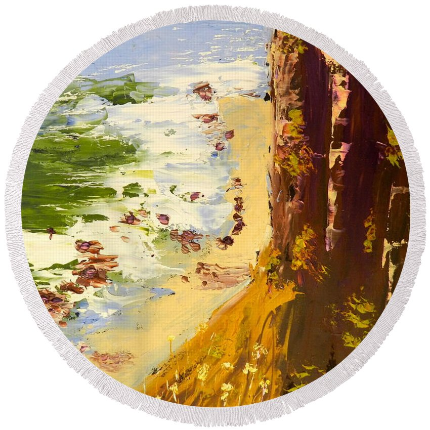 Impressionist Round Beach Towel featuring the painting Great Ocean Road by Pamela Meredith