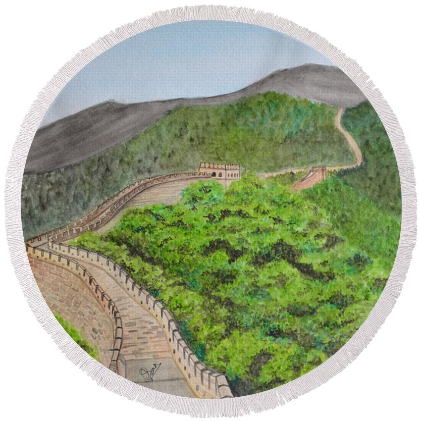 Great Wall Of China Round Beach Towel featuring the painting Great Wall Of China by Swati Singh