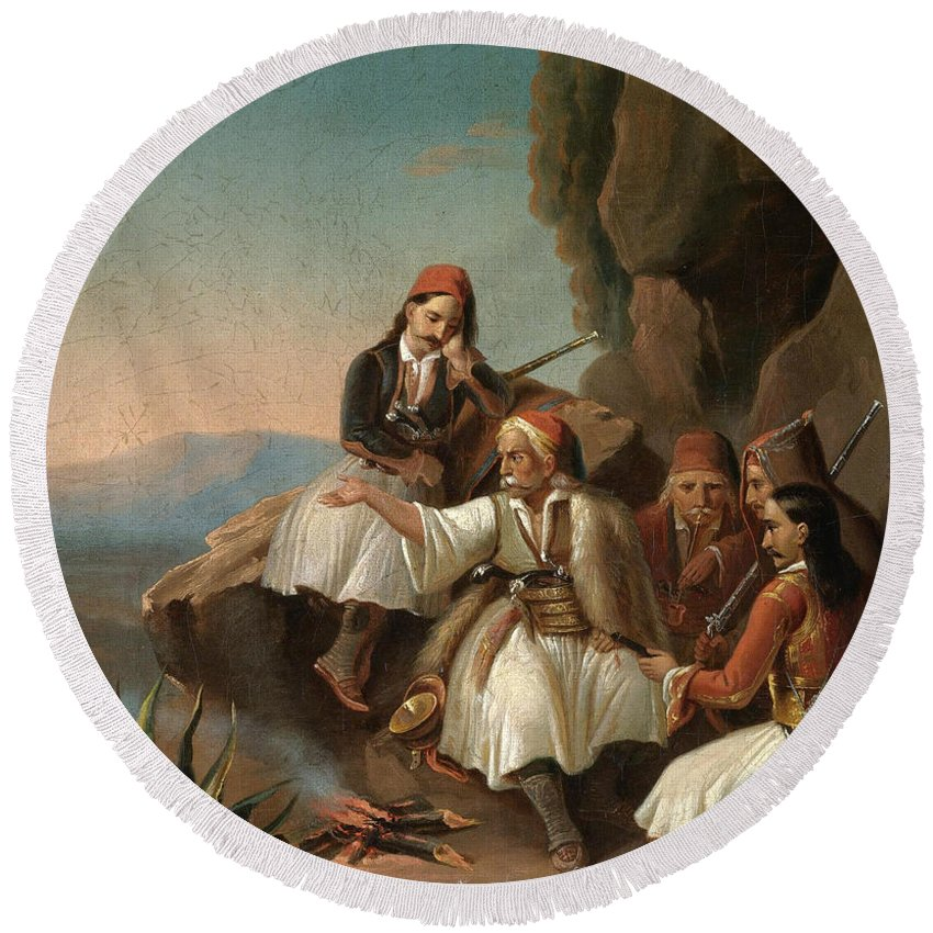 Theodoros Vryzakis Round Beach Towel featuring the painting Greek Freedom Fighters by Theodoros Vryzakis