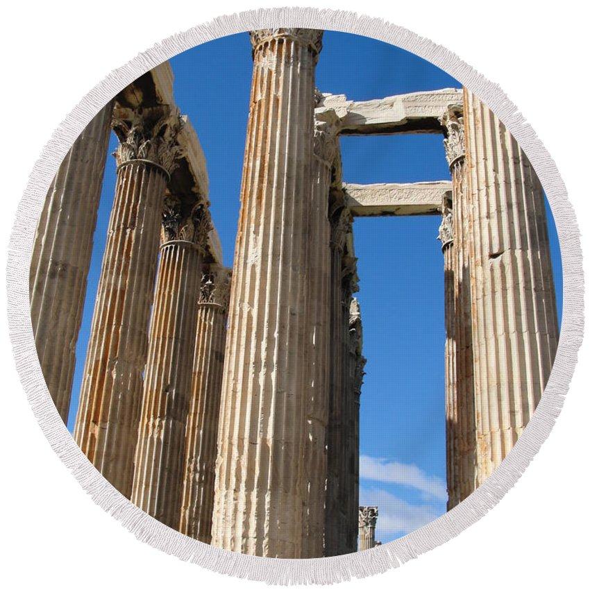 Greece Round Beach Towel featuring the photograph Greek Ruins by Tiffany Erdman