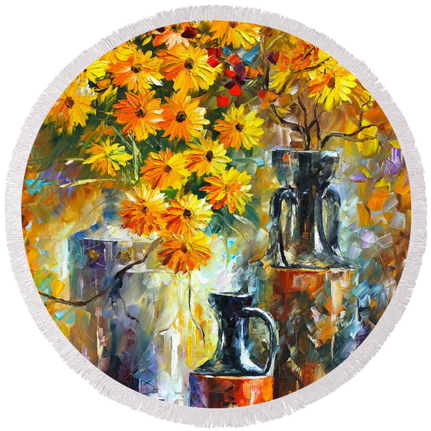 Afremov Round Beach Towel featuring the painting Greek Vases by Leonid Afremov