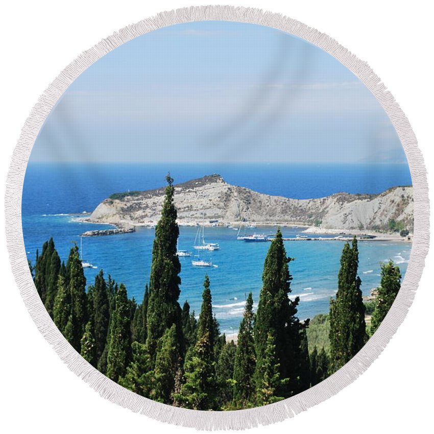 Seascape Round Beach Towel featuring the photograph Green And Blue 1 by George Katechis