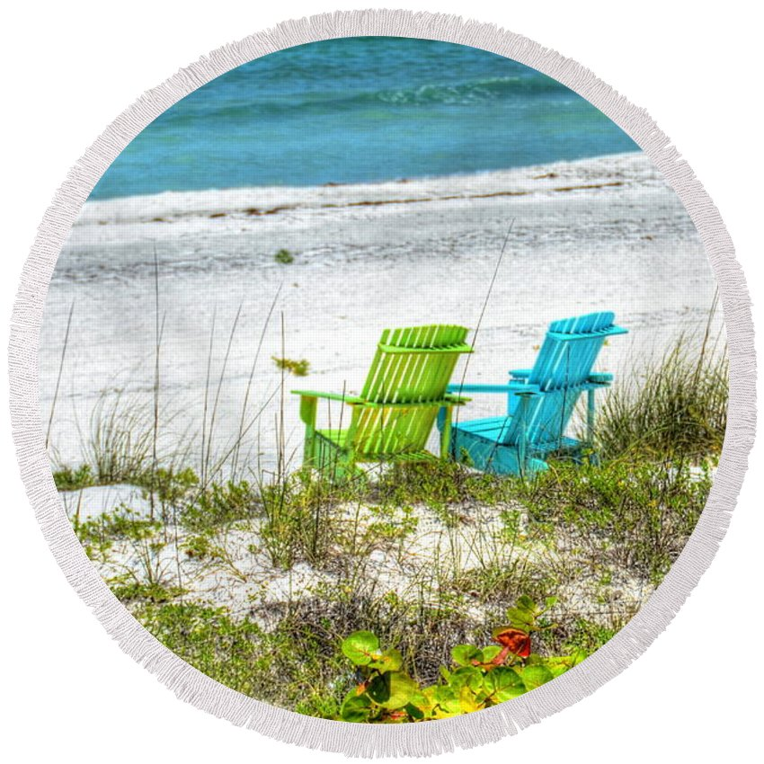 Chairs Round Beach Towel featuring the photograph Green And Blue Chairs by Debbi Granruth