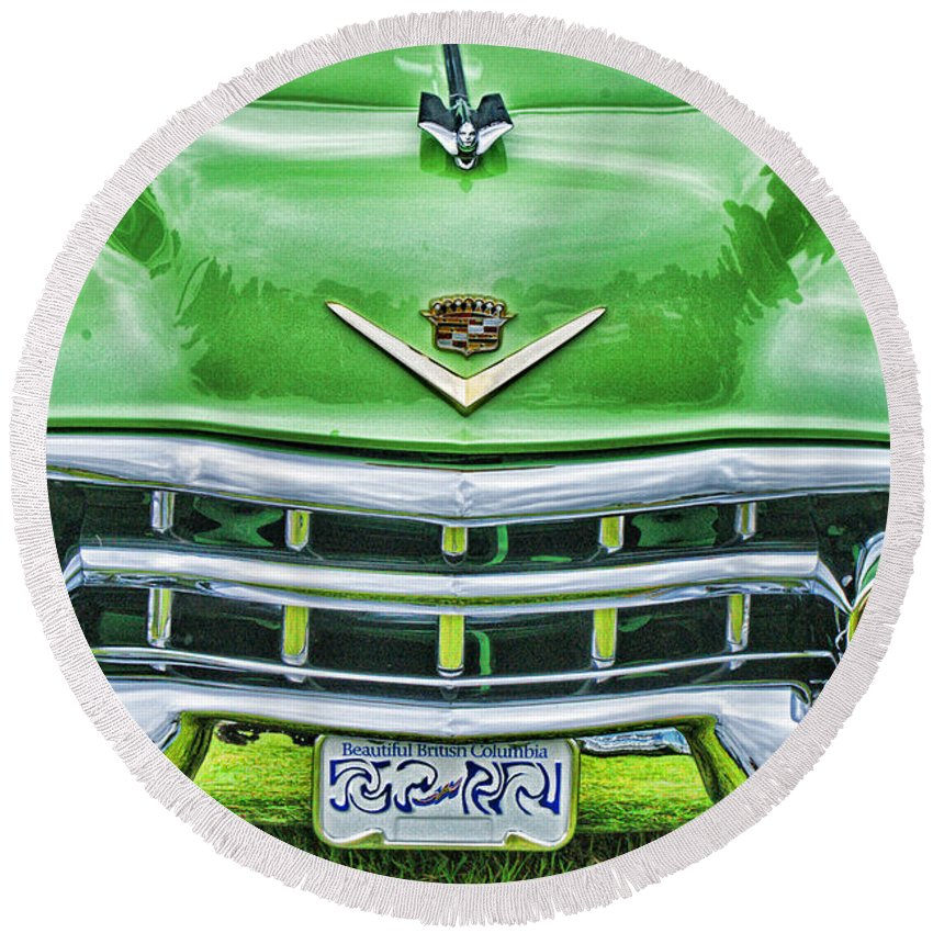 Cars Round Beach Towel featuring the photograph Green And Chrome-hdr by Randy Harris