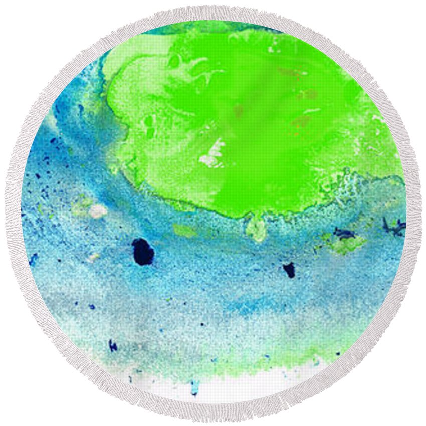 Blue Round Beach Towel featuring the painting Green Blue Art - Making Waves - By Sharon Cummings by Sharon Cummings