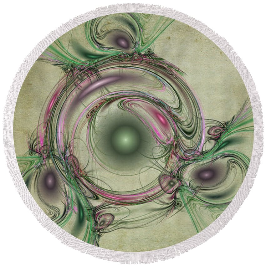 Green Round Beach Towel featuring the digital art Green Circles by David Ridley