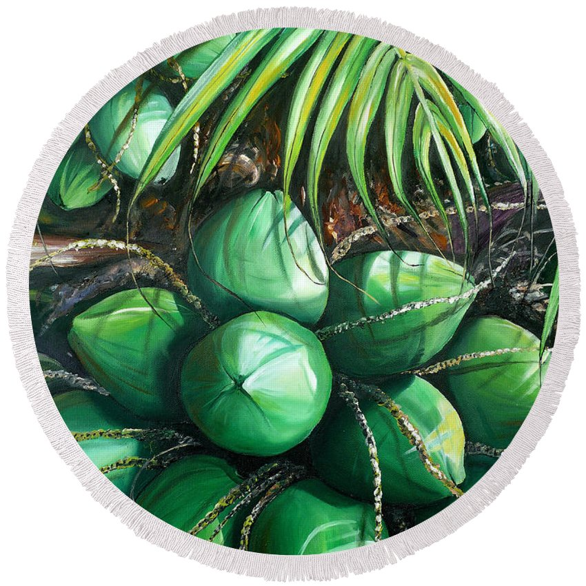 Tropical Painting Caribbean Painting Green Painting Palm Tree Painting Greeting Card Painting Botanical Painting Tree Painting Round Beach Towel featuring the painting Green Coconuts 3 Sold by Karin Dawn Kelshall- Best