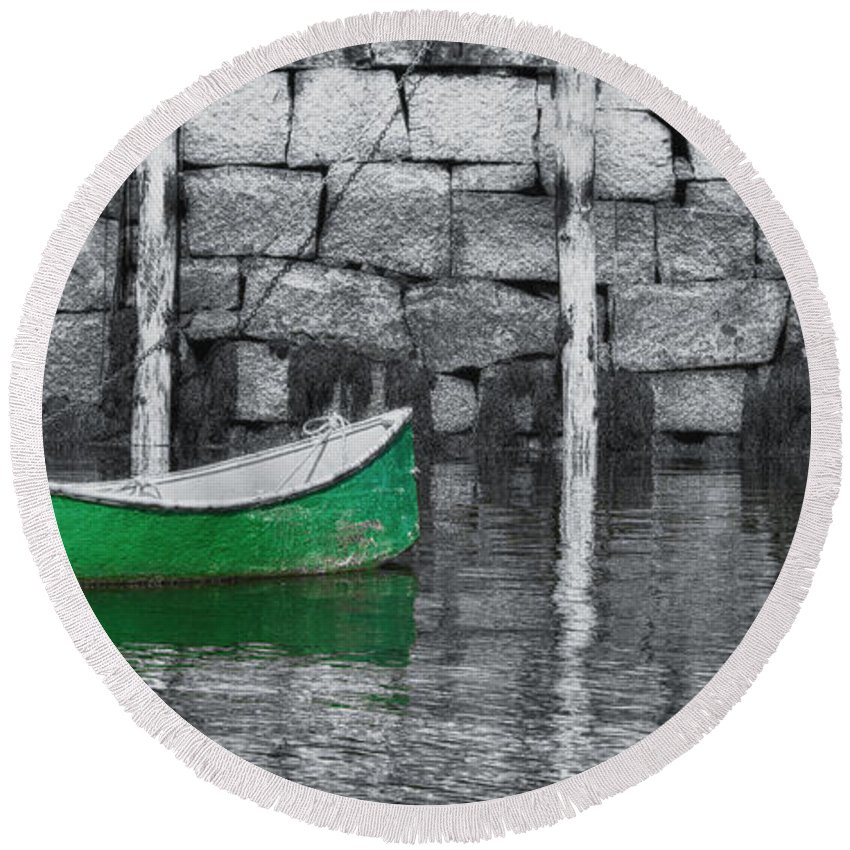 Bradley Wharf Round Beach Towel featuring the photograph Green Dinghy Floating by Jeff Folger