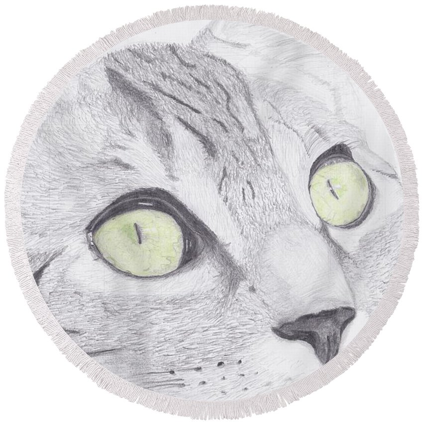 Cat Round Beach Towel featuring the drawing Green Eyed Cat by David Smith
