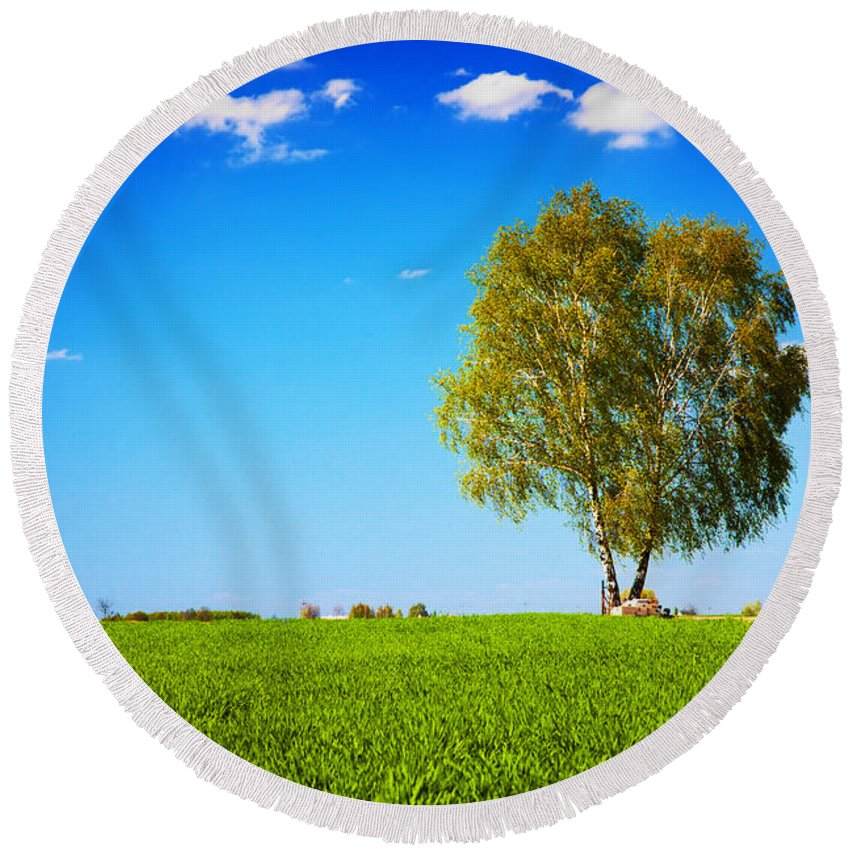 Grass Round Beach Towel featuring the photograph Green Field Landscape With A Single Tree by Michal Bednarek