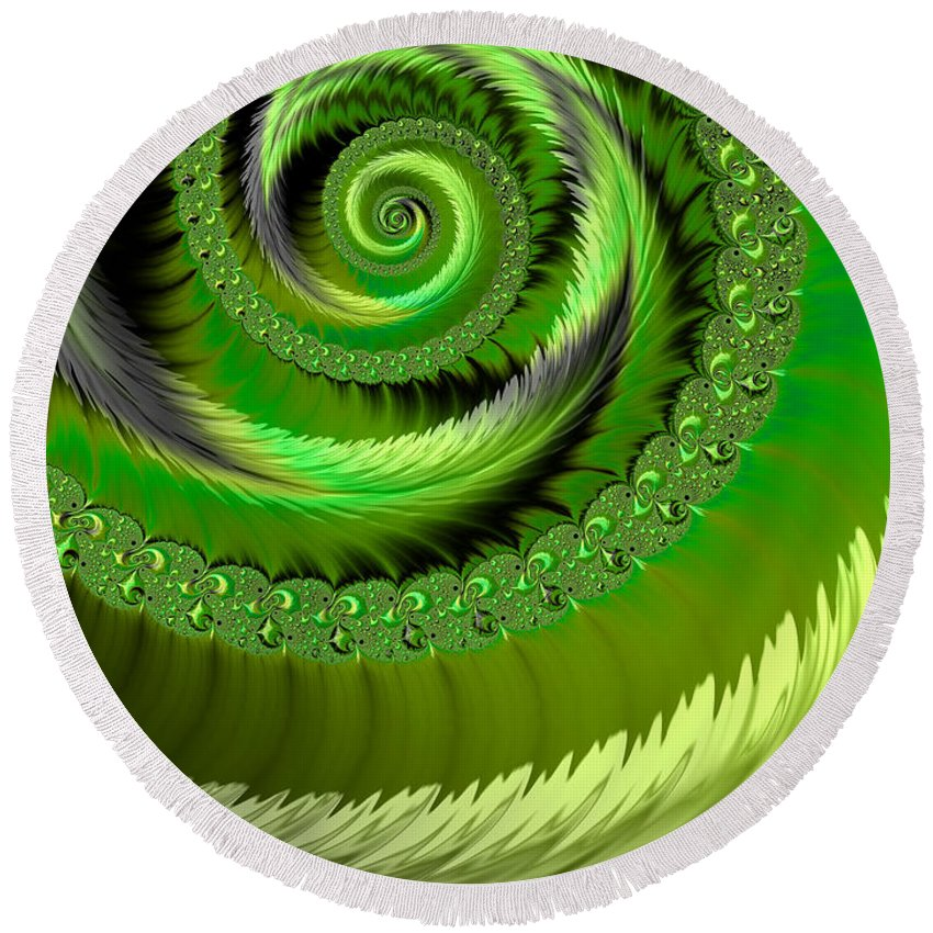 Emerald Curve Abstract Round Beach Towel featuring the digital art Green Fronds by John Edwards