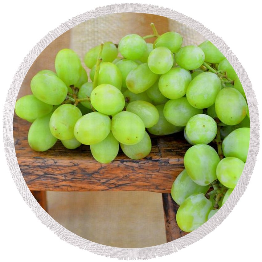 Grapes Round Beach Towel featuring the photograph Green Grapes by Mary Deal