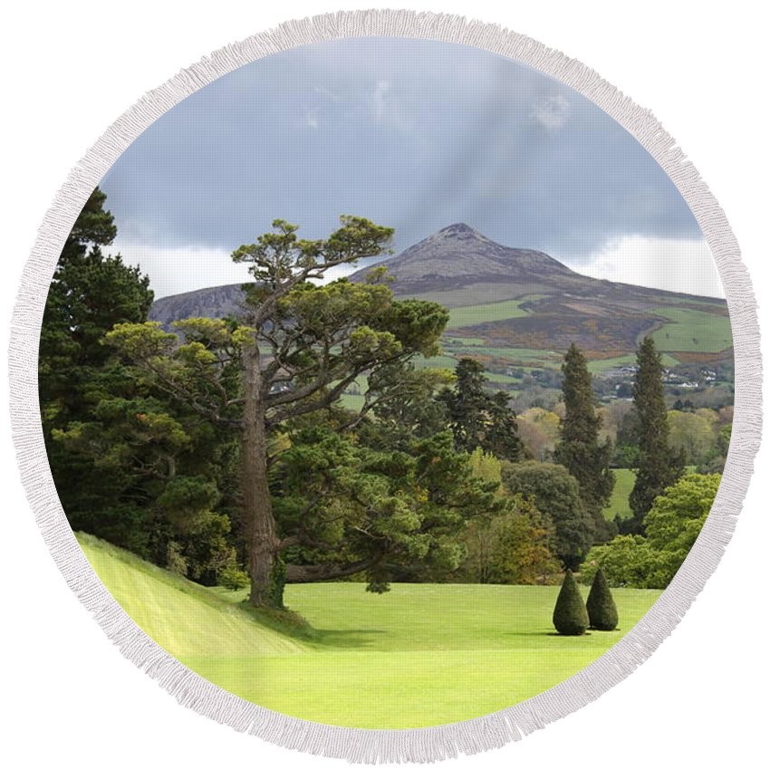 Powerscourt Round Beach Towel featuring the photograph Green Green Garden And Mountain by Christiane Schulze Art And Photography