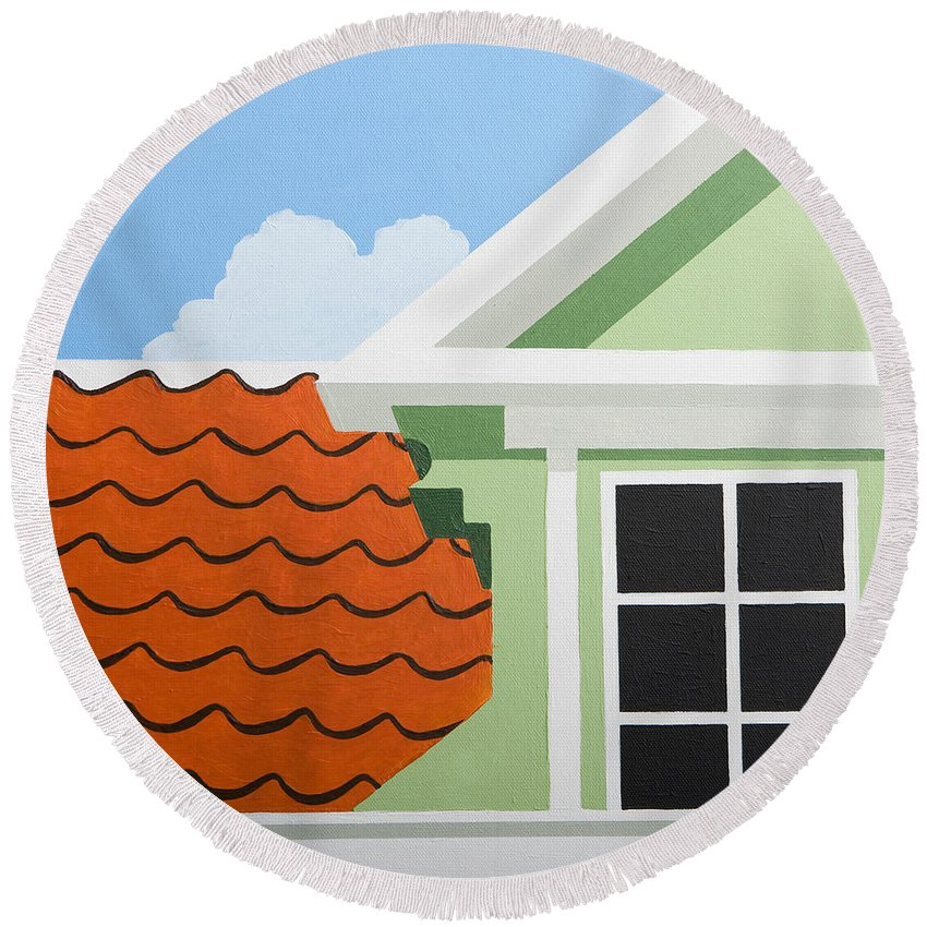 Painting Round Beach Towel featuring the painting Green House by Trudie Canwood