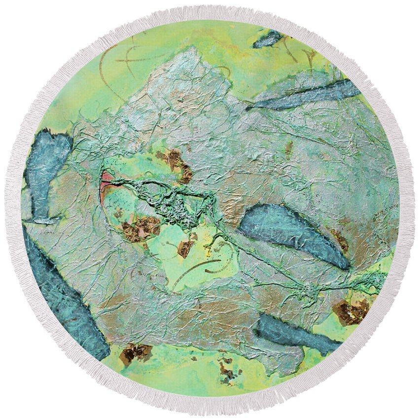 Abstract Painting Round Beach Towel featuring the painting Green Of The Earth Plane by Asha Carolyn Young