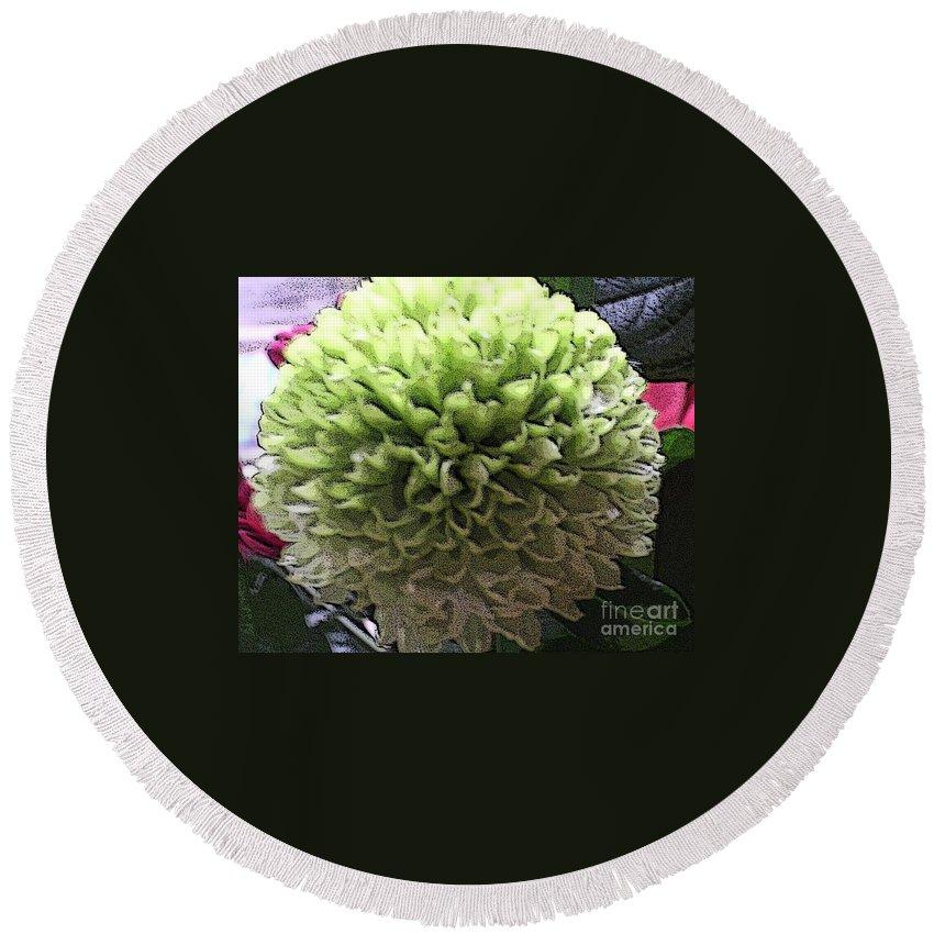 Pom Pom Chrysanthemum Round Beach Towel featuring the photograph Green Pom Pom by Joan-Violet Stretch