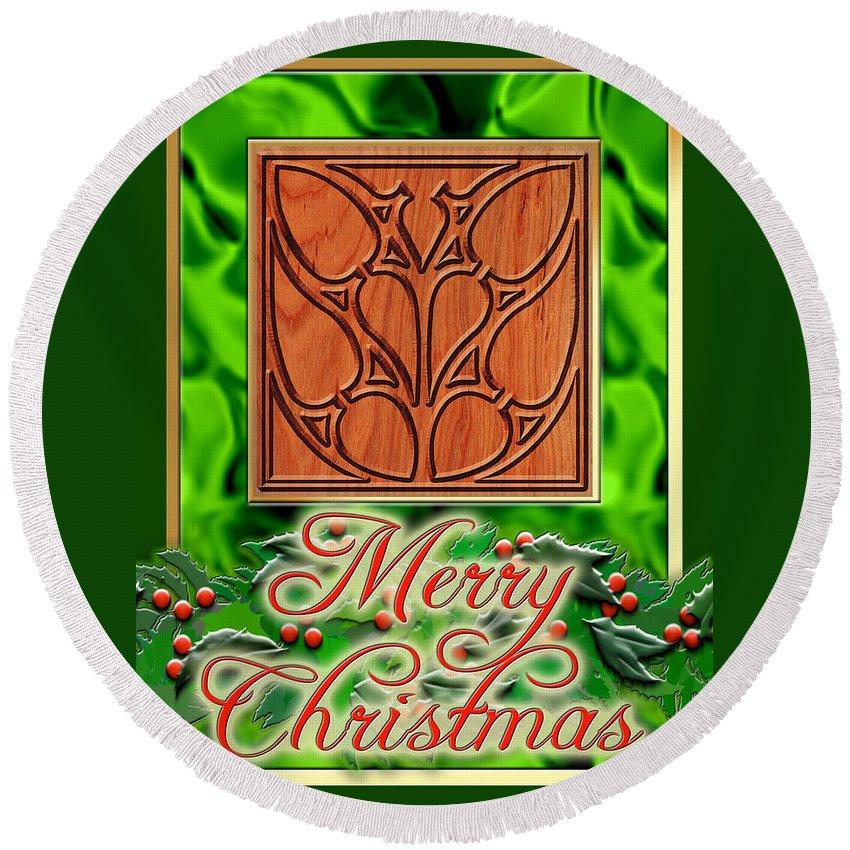 Christmas Round Beach Towel featuring the digital art Green Satin Merry Christmas by Melissa A Benson