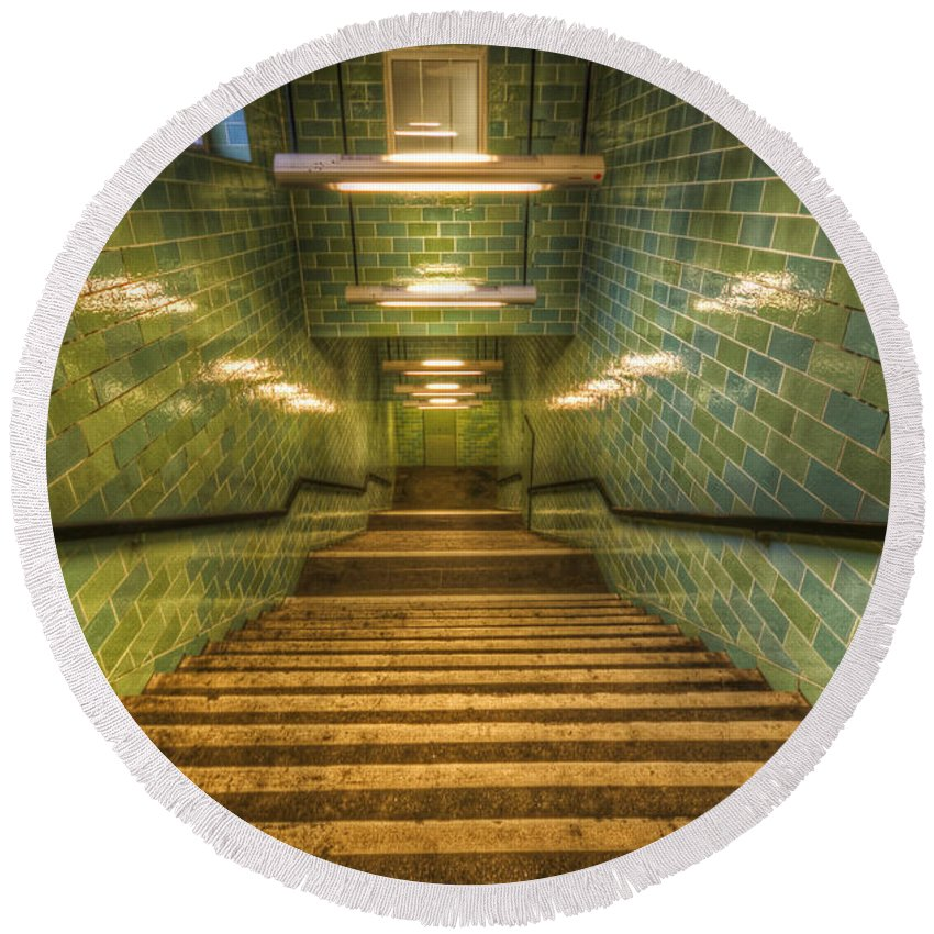 Architecture Round Beach Towel featuring the digital art Green Stairs by Nathan Wright