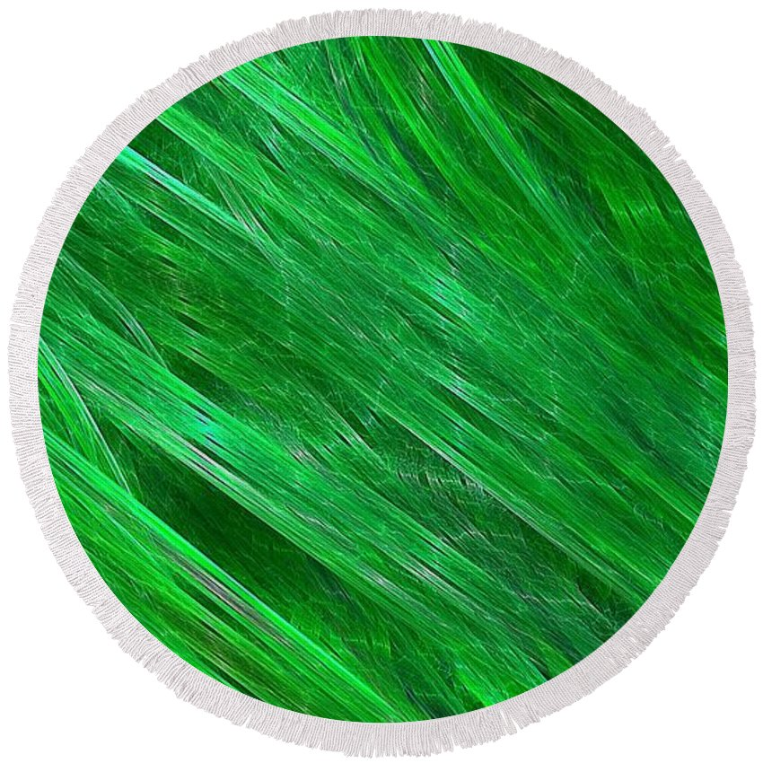 Streaming Round Beach Towel featuring the digital art Green Streaming by Doug Morgan
