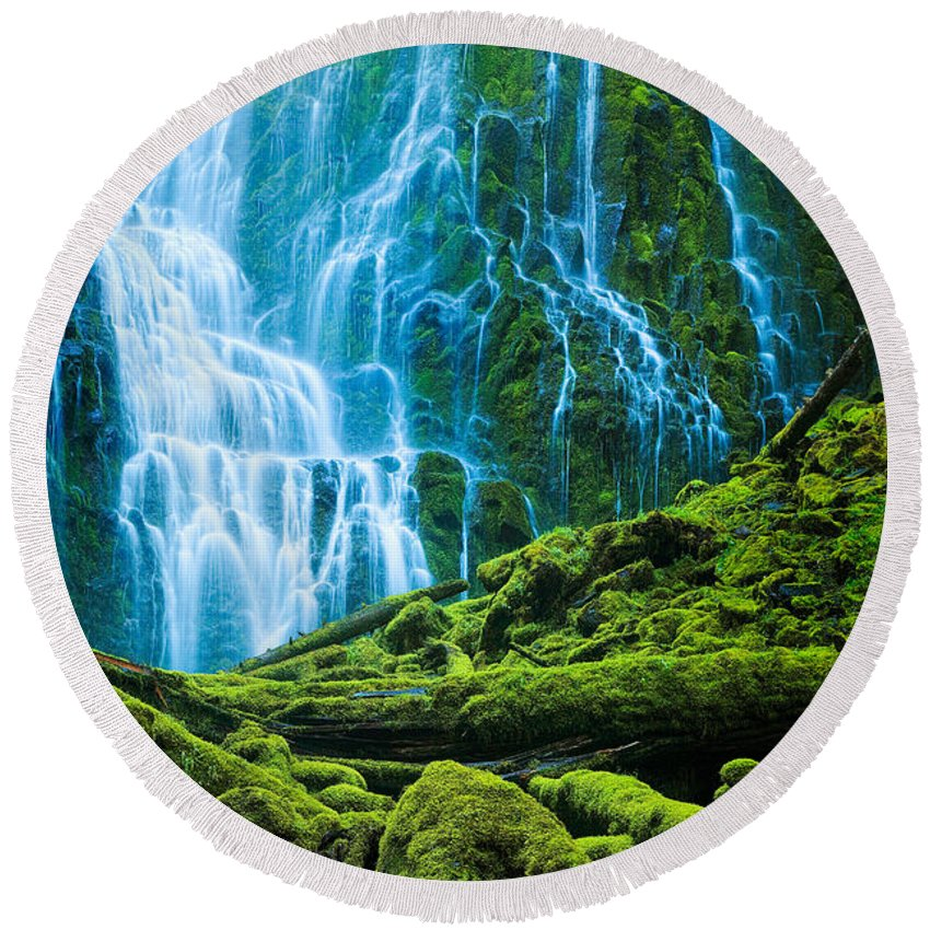 America Round Beach Towel featuring the photograph Green Waterfall by Inge Johnsson