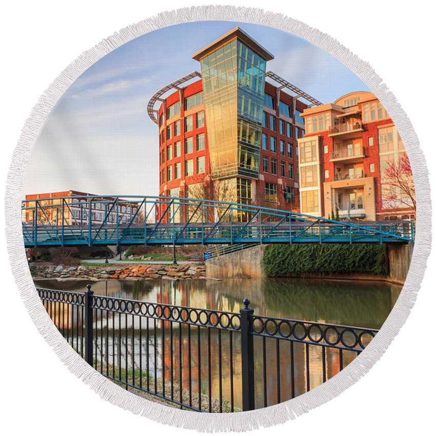 Downtown Greenville Round Beach Towel featuring the photograph Dowtown Greenville South Carolina by Carol VanDyke