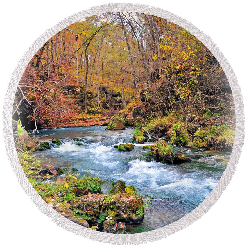 Greer Spring Round Beach Towel featuring the photograph Greer Spring In Fall by Marty Koch