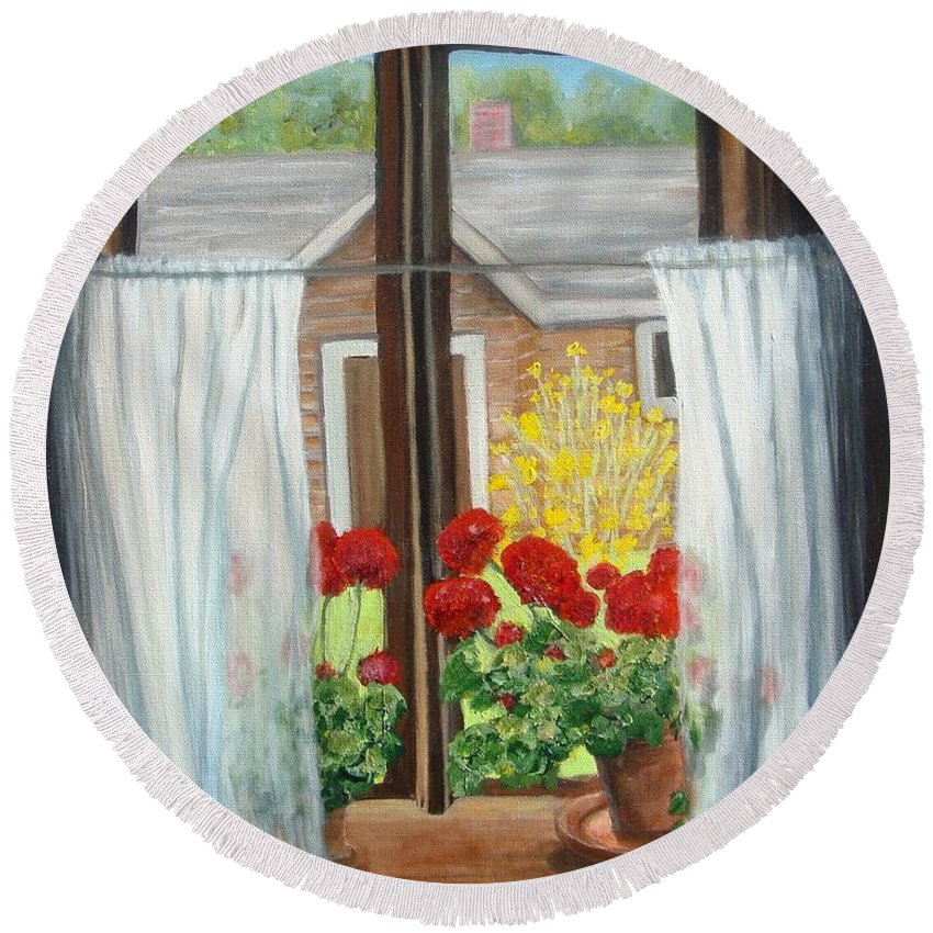 Windows Round Beach Towel featuring the painting Greet The Day by Laurie Morgan