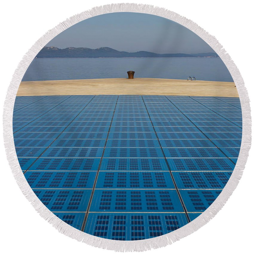 Adriatic Round Beach Towel featuring the photograph Greetings To The Sun Zadar Installation by Brch Photography