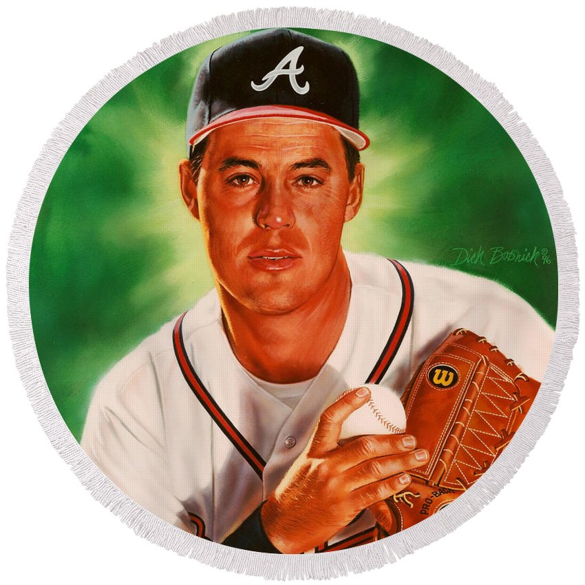 Sports Round Beach Towel featuring the painting Greg Maddux by Dick Bobnick