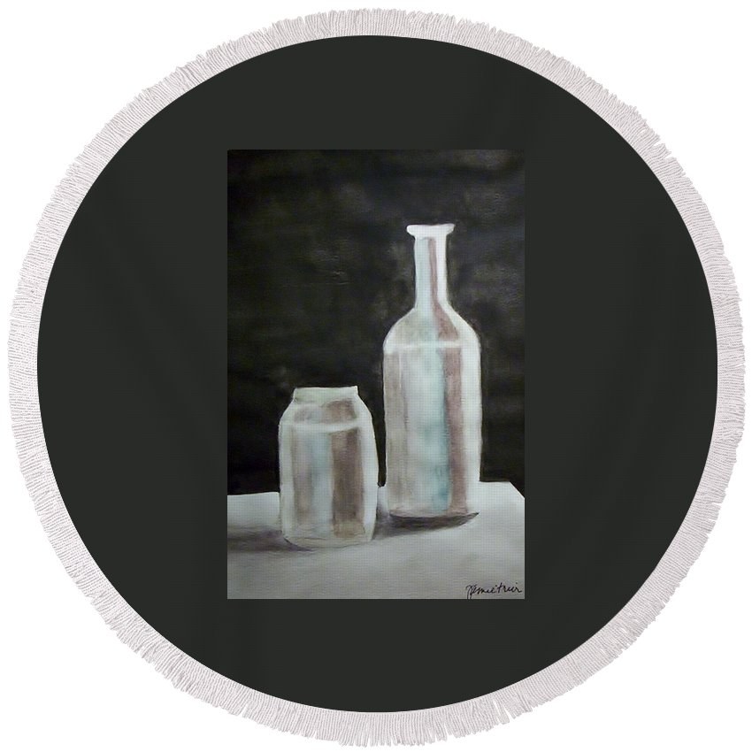 Grey Round Beach Towel featuring the painting Grey Bottles by Jamie Frier